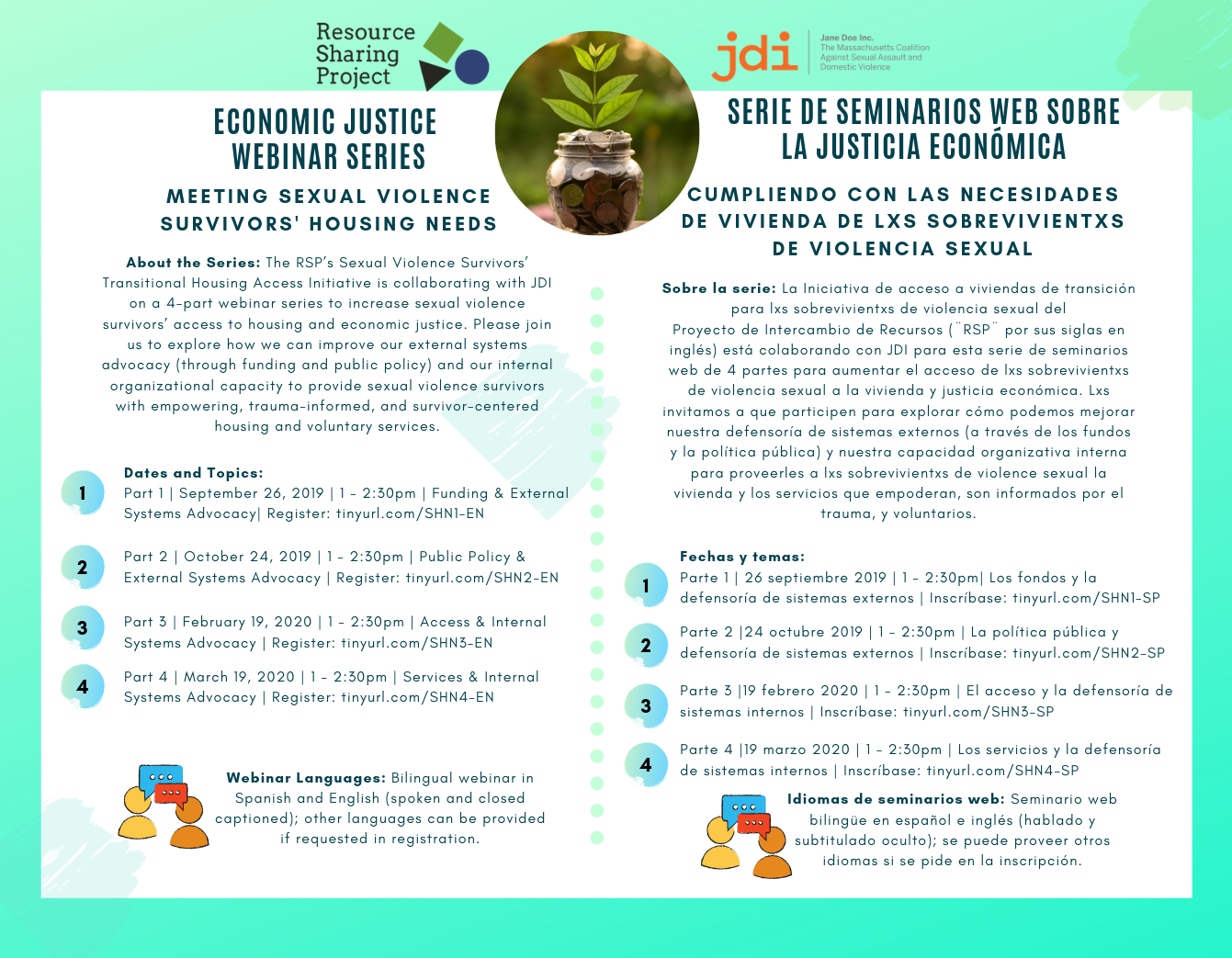 Flyer for Resource Sharing Project/Jane Doe Inc. Economic Justice Webinar series. Text included below in English and Spanish.