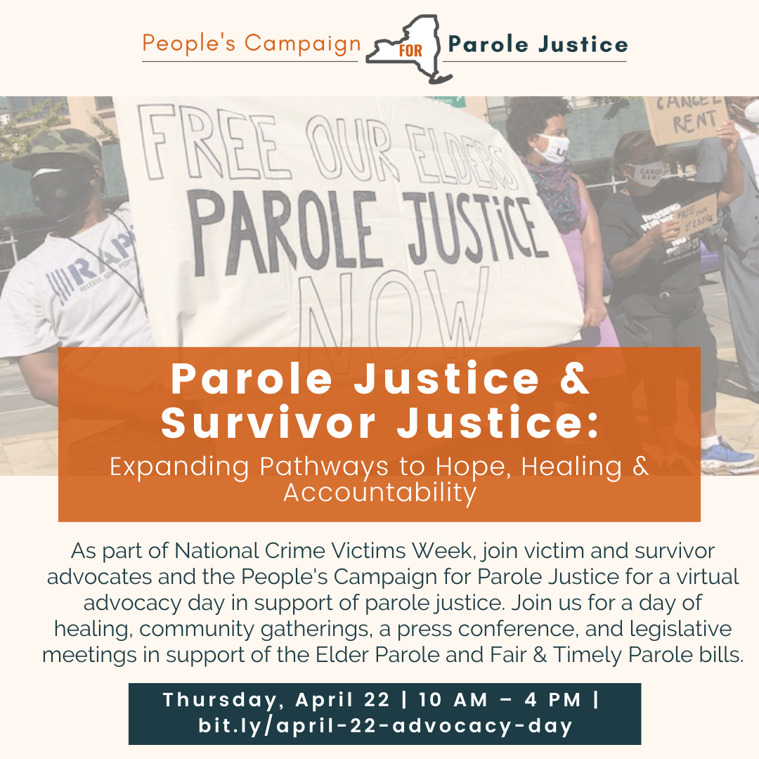 Press Release: Crime Victims, Survivor Advocates, Formerly Incarcerated Advocates, and Legislators from across NY State Hold Virtual Press Conference for Parole Reform