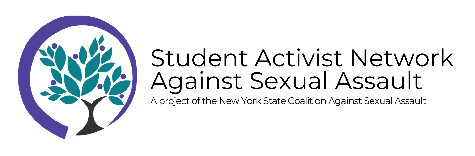 Student Activist Network Against Sexual Assault: A project of the New York State Coalition Against Sexual Assault. Includes NYSCASA's tree logo: black tree trunk with teal leaves, surrounded by a purple circle