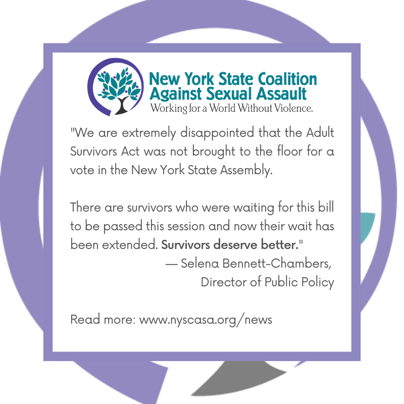 NYSCASA Responds to NYS Assembly's Failure to Pass Adult Survivors Act