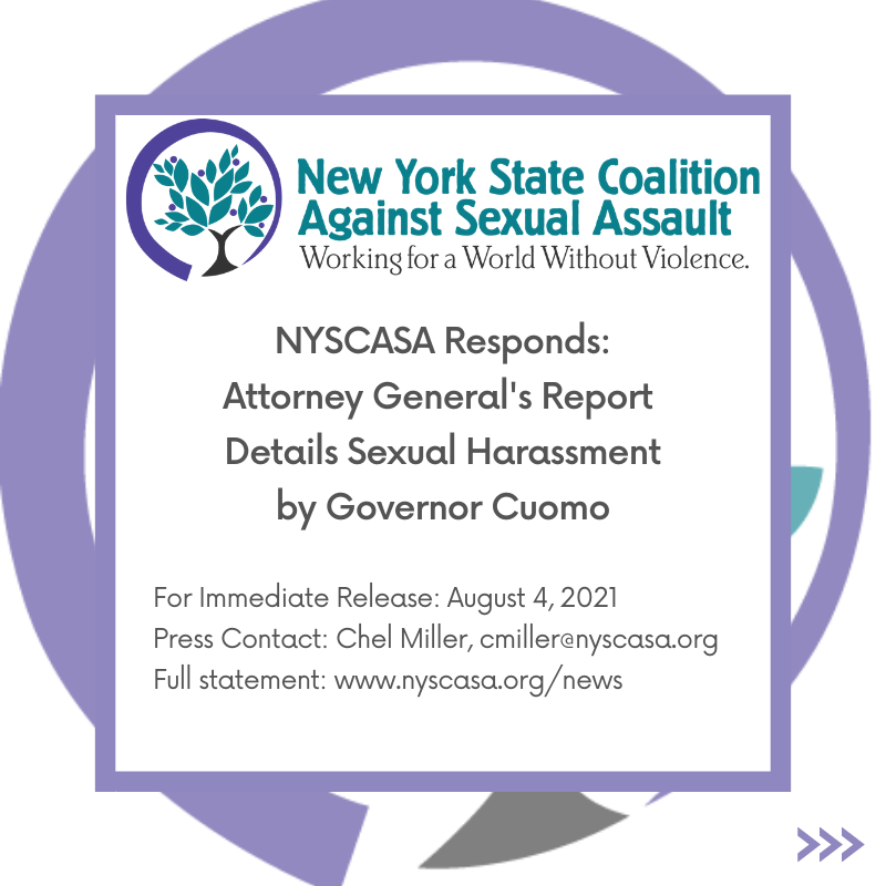 NYSCASA Responds: AG Report Details Sexual Harassment by Governor Cuomo